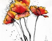 Ink drawing on canvas A4 (20x30cm) - abstract red poppies - flower painting
