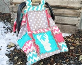 CAR SEAT Canopy and Baby Blanket With Deer Silhouette in Turquoise, Grey, and Pink for Baby Girl