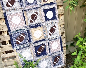 Sports Crib Bedding Baby Comforter - Navy /Blue / Gray Baseball Quilt - Football Nursery Boy Baby Blanket - Sports Baby Bedding Crib Blanket