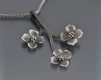 Sterling Silver Dogwood Branch Necklace - Dogwood Pendant - Nature Jewelry