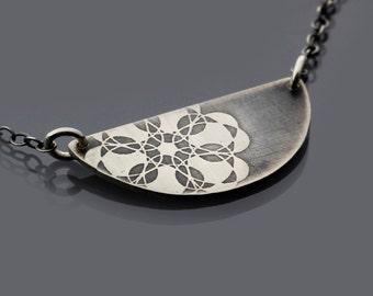 Semicircle Spiro Lace Flower Necklace - etched sterling silver