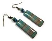 Earth Tones Dangle Earrings- polymer clay jewelry- Resin earrings- Polymer Clay Earrings- Ready to Ship- Turquoise Earrings