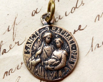 Bronze Archangel St Raphael Medal - Patron of healing - Antique Reproduction