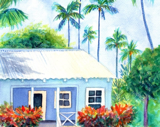 Blue Plantation House Original Watercolor, Little Blue Cottage, Old Hawaiian Cottage, Tropical Cottage Art, Hawaii Art, Hawaiian, Kauai arta