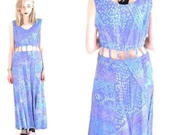 vintage CAGE dress 80s cut out SURFER grunge BOHO tribal maxi duster festival dress