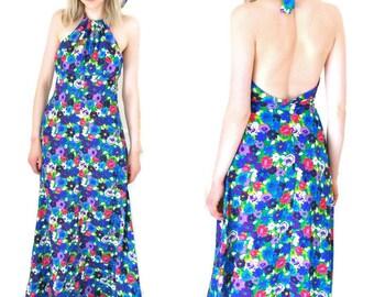 1970s boho floral maxi dress 70s vintage hippie halter dress small