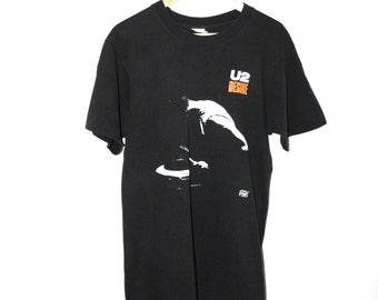 vintage U2 Tshirt 80s paper thin black band shirt rock tee medium