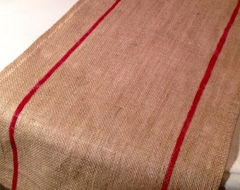 Burlap Table Runner with Red Stripe