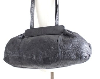 Vintage 80s Carlos Falchi Leather Bag | Black Buffalo Leather Hobo | XL Slouchy Grained Leather Purse