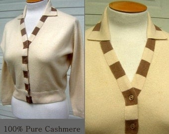 Cashmere Sweater BALLANTYNE of Peebles Cardigan Vintage 50s Pin Up Bust 45""