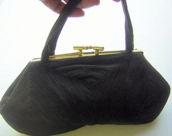 Vintage 40s Handbag Purse Jet Black Corde Fingerprint Pattern with Lipstick Tube Clasp & Double Handles - Plump and Posh