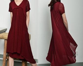 New ending - idea2lifestyle zen layered dress / idea2lifestyle boho tunic dress / green summer dress / burgundy summer dress (Q1710S)