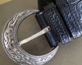 Vintage Leather Belt cowboy hand tooled floral black western style boho