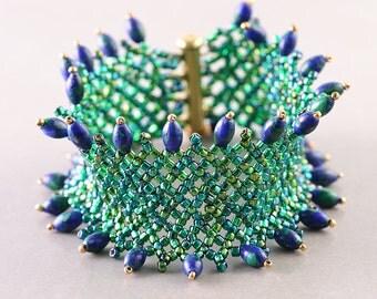 Beaded Cuff, Blue Green Bracelet,