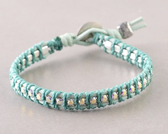 Wrap Bracelet, Swarovski Crystal Leather Bracelet, Aqua Leather Bracelet