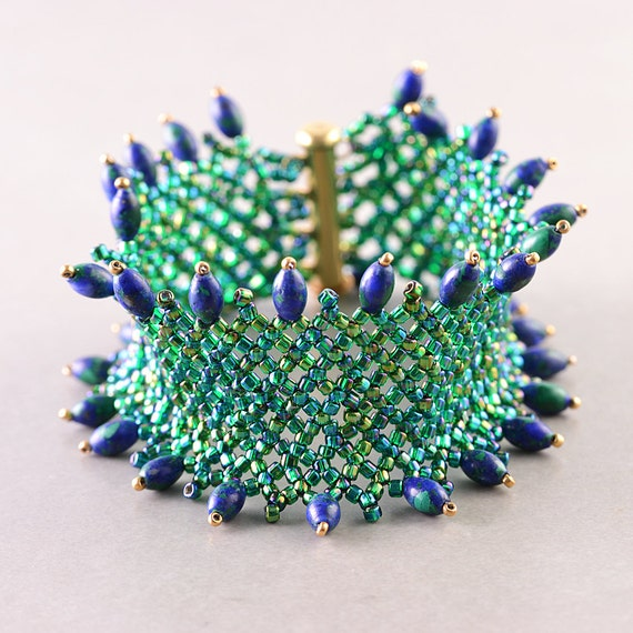 Beaded Cuff, Blue Green Bracelet,