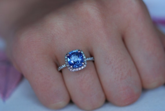 Blue Sapphire ring. White Gold Engagement ring.  3.1ct cushion sapphire diamond ring. Engagement rings by Eidelprecious.