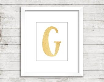 Gold Letter G Printable, Instant Download, G Initial, G Monogram, G Print Nursery Decor, Uppercase Letter G Art, Gold G Wall Art