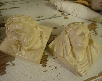 Vintage Shabby Cottage Chic Pair Jesus and Mary Petite Plaques Set