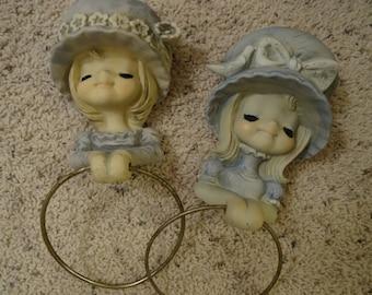 Vintage Pair Shabby Girl Hangers Children