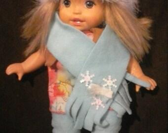 Doll snowflake hat, scarf, and leg warmer set.