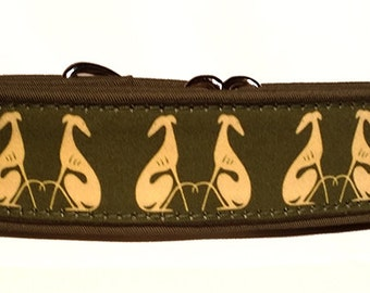 """Sitting Hounds in Green and Cream  1.5""""  Martingale Collar-"""
