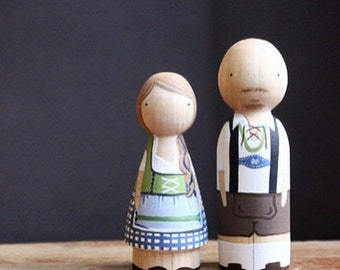 German Cake Toppers // Themed Personalized Wooden Peg Dolls // 5 Year Anniversary Wood Gift Goose Grease - wooden dolls Fair Trade