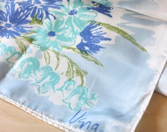 Vintage Vera Scarf. Blue pastel flowers, vintage 1970s oblong.