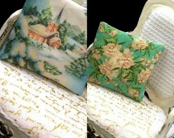 2 sided 1:12 scale miniature dollhouse pillow  Katie Arthur shabby  A922 HOLIDAY