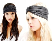 Babooshka Black Faux Leather Turban Eco Moto Stretch Vegan Cruelty Free White Gray Black Goth Witchy Headband Featured In Aprils Lucky Mag