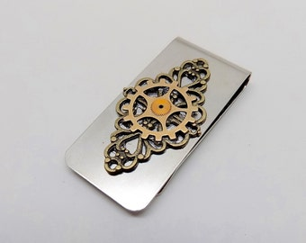 Steampunk jewelry. Steampunk money clip with gears. Money holder.