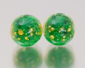 Lampwork Glass Bead Pair - Shimmer in green. Lampwork glass beads by Jennie Yip