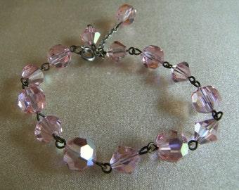 Vintage Pink Aurora Borealis Crystal Bracelet