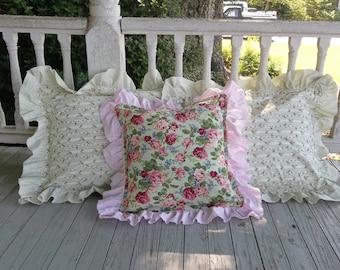 Set Ruffled Pillow Shams Pink Floral Pillows Ruffled Bed Pillows Handmade Decorative Pillows Cottage Chic Porch Pillows READY to SHIP