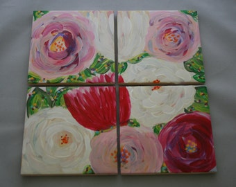 Pretty Posies Hand Painted Coasters - Set of 4