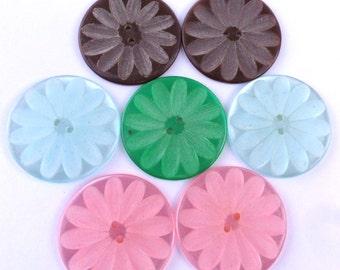 7 Big Flower Buttons Pink Blue Green Brown Vintage Flower Buttons