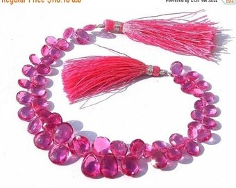55% OFF SALE Full 8 Inches -- Outrageous AAA Rubelite Pink Quartz Faceted Pear Briolettes Size - 11x7- 12x8mm approx