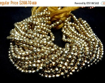 55% OFF SALE Buy Wholesale lot  - 10 strands Finest Quality Mystic Golden Yellow Pyrite Micro Faceted Rondelles Length 14 Inches Size 3.5mm