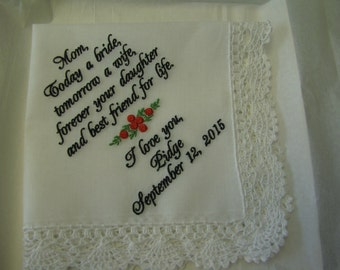 Mother of the Bride -Custom Personalized Embroidered Wedding  Handkerchief