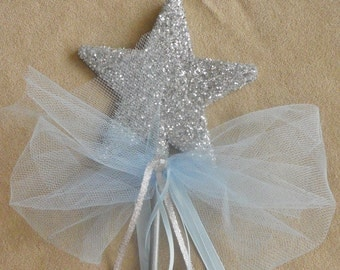Silver and Blue Will You Be My Godmother Wand