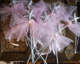 Silver and Pink Party Favor Wands- set of 8