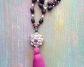 Lotus Seed Prayer Necklace with Labradorite Flower Mandala and Large Marsala Tassel