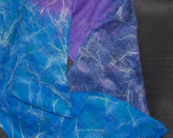 Alpaca Cobweb Felted Scarf, Blue, Purple, and a bit of Sparkle!
