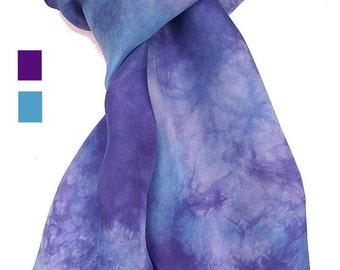 "Hand Dyed Shibori Silk Scarf, Turquoise & Purple Silk Scarf, Classic or Infinity 15x72"""