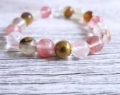 Watermelon Tourmaline Bracelet Gemstone Mandala Gold Bead Bangle Goddess Crystal 10mm Bead Gemstone Bracelet Watermelon Tourmaline Beads