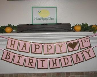 pink gold 1st birthday - Happy 1st Birthday Banner - First Birthday