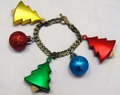 Glitzy Glitter Christmas Bauble Ornament Charm Bracelet