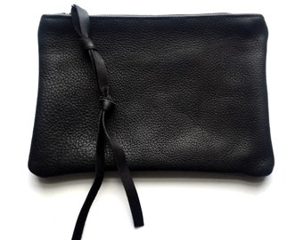 UNISEX Black leather mini clutch