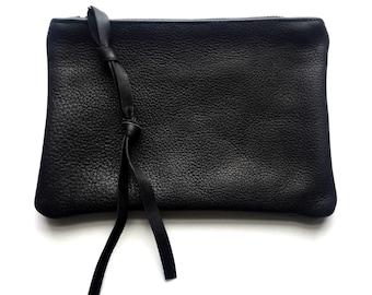 UNISEX Black leather mini clutch