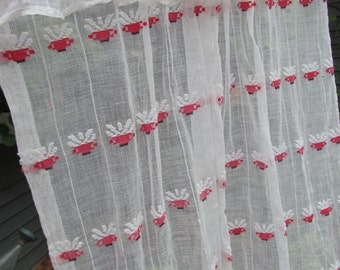 "Pair Vintage Sheer Cotton Cafe Curtains - Red and White - Shabby Prairie Cottage - 27"" long x 70"" total width"